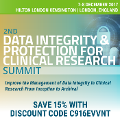 2nd Data Integrity and Protection for Clinical Research Summit: The Hilton London Kensington, 179-199 Holland Park Ave, Kensington, W11 4UL, United Kingdom, 7-8 December 2017