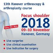 13th Hanover Arthroscopy and Arthroplasty Course: Messe Hannover, NORD/LB forum, 3. Allee 3. Straße Messegelände, Hanover, 30521, Germany, 9-10 November 2018